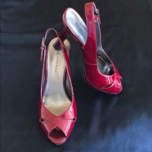 Anne Klein Dark Red Patent Leather Sandals, Sz 7